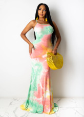 Sexy Tie Dye Cross Strap Backless Long Maxi Dress BS-1211