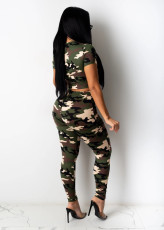 Camo Print Hole Hollow Two Piece Pants Set LA-3209