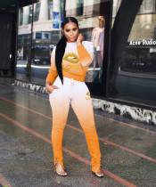 Fashion Casual Sport Love Lip Gradient Long Sleeve Top Pants Suit YSU-8031