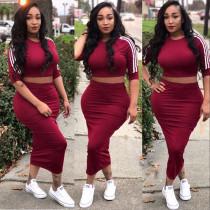 Casual Striped Half Sleeve Long Skirt 2 Piece Sets WZ-8298