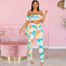 Tie dye Sexy Party Tube Top Trousers Two Piece Set YSU-8011