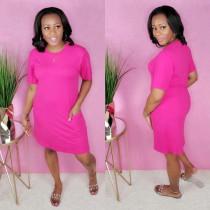 Solid Color Fashion Simple Loose Dress YSU-8018