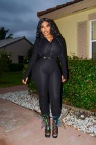 Solid Rib Long Sleeve Ruched Jumpsuits WZ-8294