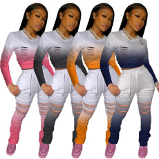 Gradient Long Sleeve Hole Stacked Pants 2 Piece Sets BLX-7517