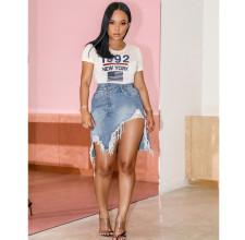 Trendy Ripped Irregular Denim Mini Skirt OM-1115