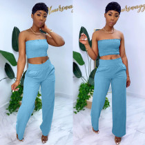 Solid Tube Top Long Pants Sexy Two Piece Suits BLX-7518