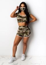 Camo Print Short Sleeve Two Piece Short Set With Mask OSM-6100