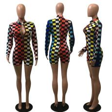 Fashion Sexy Slim Color Grid Print Romper YSU-8003