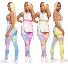 Tie Dye Sleeveless Ruched Lace Up 2 Piece Pants Set TR-1060