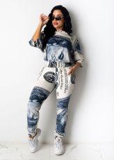 Plus Size Dollar Print Half Sleeve 2 Piece Pants Set CHY-1244