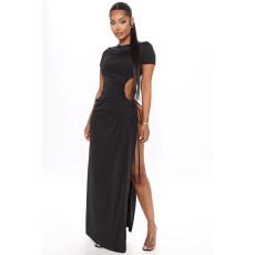 Plus Size 4XL Black High SPlit Lace Up Maxi Dress SHE-7198