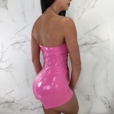Sexy PU Leather Strapless Lace Up Hollow Rompers BN-9064