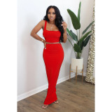 Sexy Sleeveless Solid Color Vest Long Skirt Slim Suit SFY-152