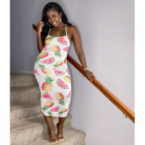 Summer Sexy Fruit Print Spaghetti Strap Dress KSN-8009