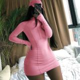 Plus Size Long Sleeeve Zipper Mini Bodycon Dress CL-6069