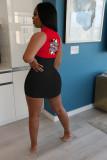 Poker Print Sleeveless Mini Bodycon Dress MIL-138