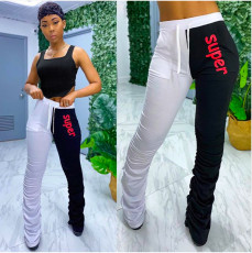 Casual Tank Top And Stacked Pants Two Piece Suits QZX-6142
