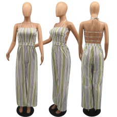Plue Size Sexy Striped Strappy Backless Jumpsuits HGL-1345