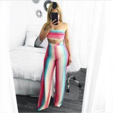 Rainbow Stripe Tube Top Wide Leg Pants 2 Piece Sets MLF-8009