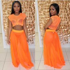 Orange Sexy Mesh Maxi Skirt 2 Piece Sets MLF-8023