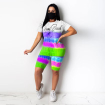 Plus Size 4XL Letter Tie Dye Two Piece Shorts Set Without Mask MLF-8055