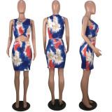 Tie Dye Print Sleeveless Mini Skirt Two Piece Sets MLF-8030