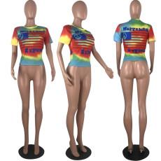Tie Dye Letter Print Short Sleeve T Shirt MLF-8022