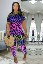 Plus Size Leopard Short Sleeve One Piece Jumpsuits MLF-8072