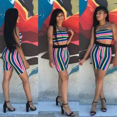 Colorful Striped Tube Tops Shorts Two Piece Sets MLF-8014