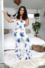 Floral Print Off Shoulder Flared Jumpsuits MLF-8038