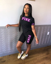 Pink Letter Print T Shirt Shorts Two Piece Sets HGL-1389
