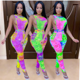 Plus Size Tie Dye Sleeveless Two Piece Pants Set GS-1860