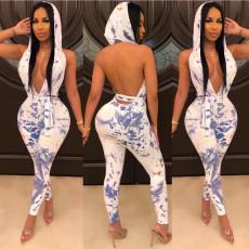 Sexy Nightclub Deep V Tie-dye Print Backless Hooded Jumpsuit YFS-814