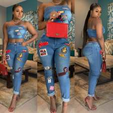 Casual Sexy Cartoon Patch Spaghetti Straps Crop Top Jeans Pants Suit OSM-3283