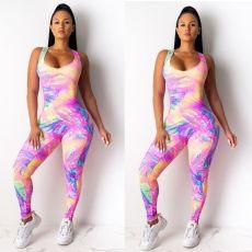 Sexy Tie-Dye Print Sleeveless Party Sport Skinny Jumpsuit YFS-809
