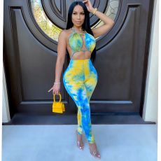 Summer Sexy Tie-Dye Backless One Piece Jumpsuit OSM-3305