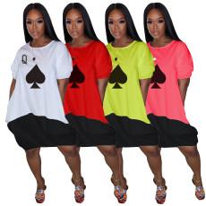 Poker Print Short Sleeve Loose Knee Length Dress AIL-111