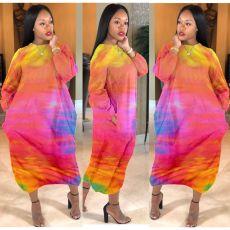 Plus Size 4XL Tie Dye Long Sleeve Loose Maxi Dress YFS-3537