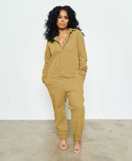 Casual Solid Long Sleeve One Piece Jumpsuit AIL-110