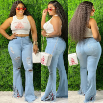 Denim Ripped Hole Tassel Flared Jeans Pants HSF-2304