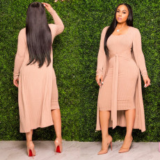 Solid Long Cloak+Sleeveless Midi Dress 2 Piece Sets SH-3823