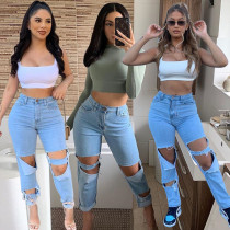 Denim High Waist Holes Long Jeans Pants BGN-097