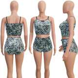 Sexy Velvet Printed Cami Top Shorts Two Piece Set SH-3817