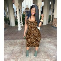 Sexy Leopard Print Sleeveless Slim Midi Dress MYF-681