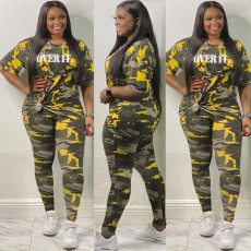 Plus Size Camo Print Letter Two Piece Pants Set OSM2-4209