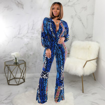 Sexy Printed V Neck Long Sleeve Flared Jumpsuit SMR-9634