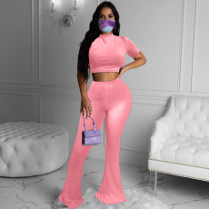 Plus Size 4XL Solid Color Sexy Simple Short Sleeve Top Bell Bottom Pants Suit Without Mask MOY-5256