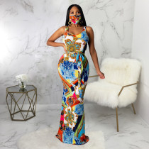 Sexy Printed Sleeveless Maxi Dress With Mask SMR-9647