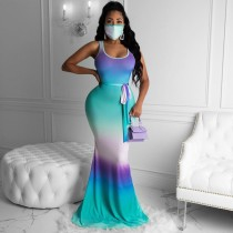 Gradient Sleeveless Sashes Maxi Dress Without Mask MK-3015