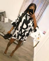 Casual Loose 3/4 Sleeve Printed Dress HTF-6028